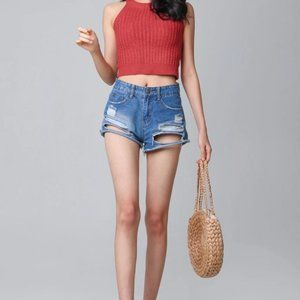 CALI high rise distressed denim jeans shorts small